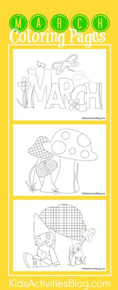 3 {Springy} March Coloring Pages for Kids