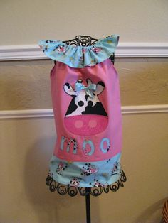Toddler dress in size 2T with cow applique by NanasCraftyCreations, $26.50