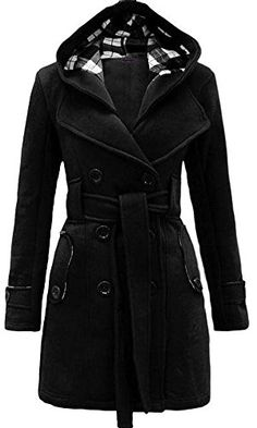 Kufv® Women's Check Double Breasted Hooded Fleece Belted Coat with Belt