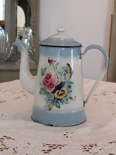 Fabulous French vintage enamel coffee pot.  Blue with flowers...  Country cottage chic.