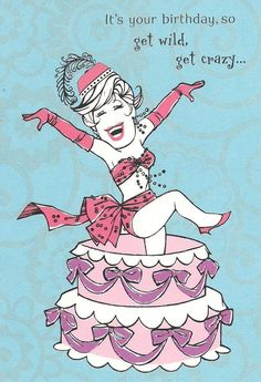 Sexy Lady Show Girl Pops Out of Cake Birthday Greeting Card Hallmark