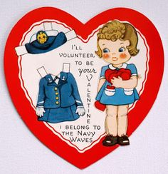 Nanalulu's Musings: Vintage Valentine Cards & Graphics to Share From Nanalulu-Navy Waves paper doll valentine