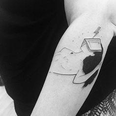 Fine line woman lost in a wizarding world tattoo by Bru Simões. Alphonse Mucha Art, Vegan Tattoo, The Birth Of Venus, World Tattoo, Jewelry Tattoo, Cartoon Wallpaper, Tattoo Inspiration, Blackwork, I Tattoo