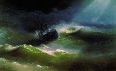19th century Armenian-Russian painter Ivan Konstantinovich Aivazovsky and other translucent waves