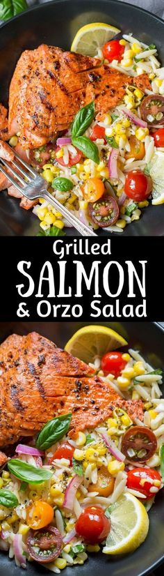 awesome Grilled Salmon & Orzo Corn Salad ~ A light and refreshing orzo salad with fresh,. Grilling Recipes, Fish Recipes, Seafood Recipes, Salad Recipes, Dinner Recipes, Cooking Recipes, Healthy Recipes, Healthy Grilling, Tilapia Recipes