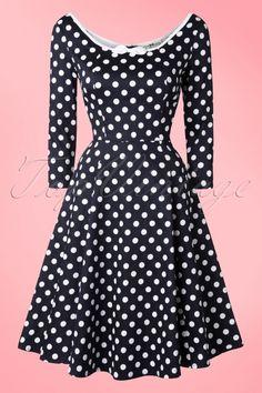 Collectif Clothing Willow Polkadot Navy Blue Swing Dress 102 39 16122 20150921 0018