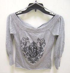 JLO by Jennifer Lopez Grey Crew Neck Heart Sweater Back Tie Women's Size M #JLO #Crewneck