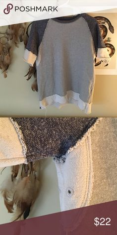 BDG SS Sweatshirt Frayed edges/seams. Light grey w/ navy blue sleeves. Can be worn as a top or a dress. Cool girl vibes when a statement necklace is added 😎 Urban Outfitters Tops Sweatshirts & Hoodies
