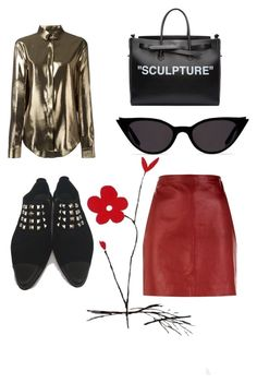 """""""sculpture look featuring rotten sparrer from suedehead shoes"""" by gusti-ayu-dui-sudarwa on Polyvore featuring Yves Saint Laurent, Sandro and Off-White"""