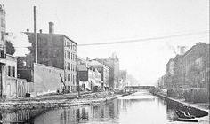 Cincinnati, OH, before 1920                           The bridge lead to Over The Rhine.  The canal was drained in the 1920ties creating Central Parkway.