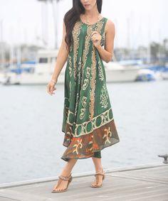 Look at this #zulilyfind! Green Waves Sleeveless Midi Dress #zulilyfinds