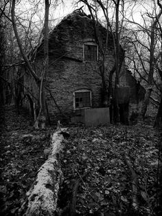 Cottage Abandoned in the Woods near Worcester in the Midlands, UK - spooky in a Blalir Witch sort of way.