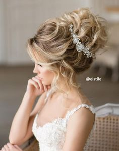 Elstile messy wedding updo hairstyle - Deer Pearl Flowers / http://www.deerpearlflowers.com/wedding-hairstyle-inspiration/elstile-messy-wedding-updo-hairstyle/