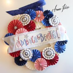 Patriotic Paper Wreath by Aimee Ferre Tutorial