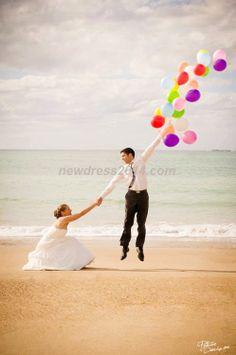 balloon wedding photo w/ Me floating away