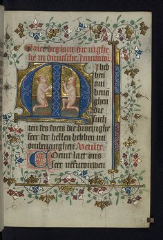 Parchment and Pixel: Illuminated manuscript, Book of Hours in Dutch, Two souls kneel in prayer in purgatory, Walters Manuscript W.188, fol. 175r