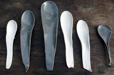 ceramic spoons - grey and white Ceramic Spoons, Ceramic Tableware, Ceramic Clay, Ceramic Pottery, Suzanne Sullivan Ceramics, Clay Pots, Clay Creations, Wabi Sabi, Sculptures