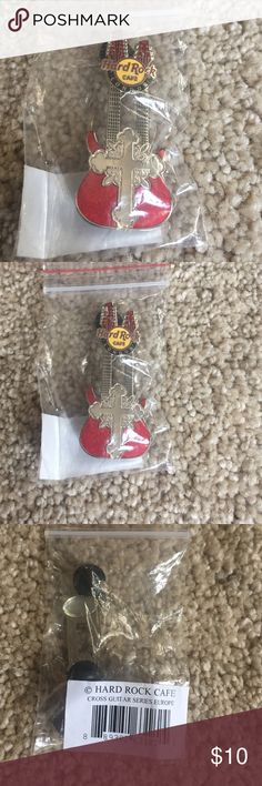HRC Double neck London Cross Pin Glittery red double neck guitar. Mint. Hard Rock Cafe Jewelry Brooches