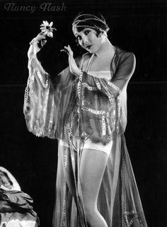 Flapper Nancy Nash, Silent Film Actress, in Negligee and Undies, circa 1920s