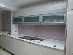 Preparation and adhesive ready for back splash - Colella Interiors kitchen installation process