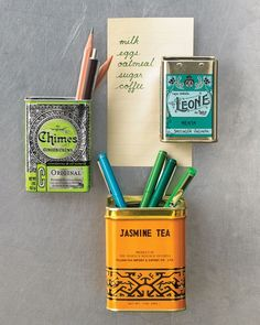 add magnets to vintage or cute tins after using them.