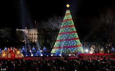 Glittering: The ceremony was the 92nd to be held outside the White House, with crowds gath...