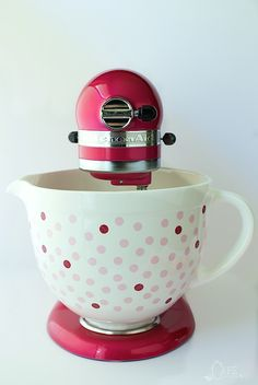 KitchenAid's beautiful Raspberry Ice Stand Mixer with their 2015 Cook for the Cure Polka Dot Bowl.
