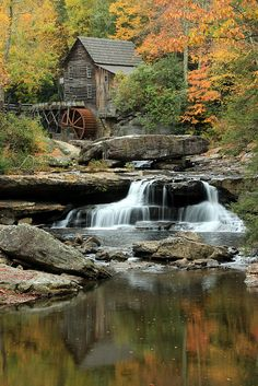 Glade Creek Grist Mill and reflections in early autumn 2.0 by Jeffrey B., via Flickr