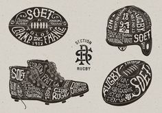 Toulouse SOET Section Rugby on Typography Served — Designspiration Vintage Graphic Design, Graphic Design Studios, Graphic Design Typography, Lettering Design, Graphic Design Illustration, Hand Lettering, Vintage Type, Typography Served, Vintage Typography