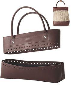 Anses et base de sac imitation cuir pour sac au tricot - Marron - Rascol