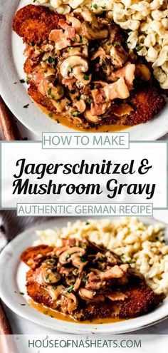 Jagerschnitzel with bacon mushroom gravy will become a family favorite in no time! This easy German dinner recipe is quick to make and perfect with spaetzel, egg noodles, or even mashed potatoes. This easy Jagerschnitzel recipe looks and tastes like you've been in the kitchen all day, but is ready in less than an hour! #schnitzel #jagerschnitzel #german #austrian #porkchops #crisp #breaded #sauce #gravy #bacon #best Bacon Mushroom, Bacon Stuffed Mushrooms, Mushroom Gravy, Stuffed Peppers, Mushroom Recipes, Quick Dinner Recipes, Side Dish Recipes, Fun Recipes, Winter Recipes