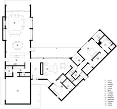 Studio B's V-Plan House in Aspen comprises black gabled forms House Layout Plans, House Layouts, House Floor Plans, Modern Floor Plans, Wooden Cladding, Aspen House, Villa Plan, Cosy Room, Ground Floor Plan