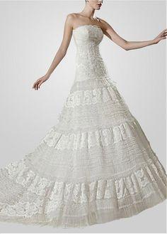 FABULOUS SATIN NET A-LINE STRAPLESS NECKLINE WEDDING DRESS WITH LACE APPLIQUES & BEADINGS