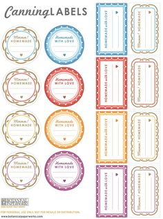 Love the cute patterns and great colors of these free printable canning labels - there's one for each of my favorite jam flavours!
