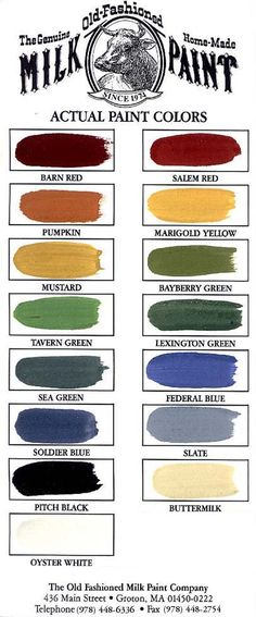 Milk Paint Color Chart for Kitchen Cabinets-I love the Tavern Green!