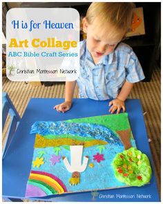 A fun hands-on H is for Heaven ART Collage for children of all ages to enjoy. This is part of the ABCs of the Bible Craft series. - www.christianmontessorinetwork.com