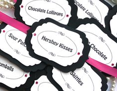 Luxury Candy Buffet Tags - Hot Pink and Black Candy Station Decoration - Set of 9. $13.50, via Etsy.