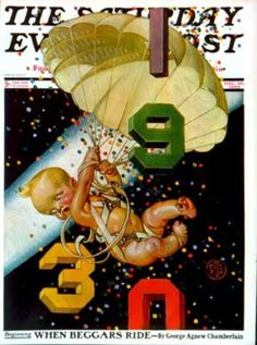 1930 New Year Baby by JC Leyendecker for Saturday Evening Post Baby New Year with a parachute, confetti falling Nose Art, Jc Leyendecker, Baby New Year, Pin Up, Saturday Evening Post, American Illustration, New Year Celebration, Norman Rockwell, Nouvel An