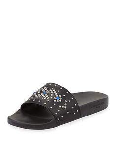 Givenchy+Studded+Rubber+Slide+Sandals+Black+Blue+|+Shoes+and+Footwear