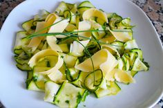 This is zucchini at its best - raw, maintaining all the nutrients and vitamins. No abusive and unnecessary deep-frying, not even sautéing. Just fresh, crunchy, zesty salad that is so good for you! Simply marinate the strips for half an hour, sprinkle some parmesan shavings and you have yourself a healthy light lunch or a side dish. http://www.foodstation1.com/zucchini-salad.html