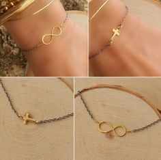 Sterling silver and brass infinity and cross bracelets on sale through April 9th.