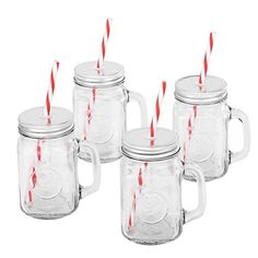 VonShef Set of 4 Mason Glass Drinking Jars 15-Oz Glasses with Reusable Straws Twist Lids & Handles