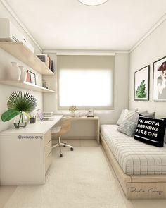 Guest bedroom office - How To Organizing Small Room to Be Neatly Organizing small rooms is actually not easy, it requires our expertise to utilize space bedroomorganizing bookshelves furniture interior organizing Guest Bedroom Office, Small Room Bedroom, Small Rooms, Small Spaces, Master Bedroom, Bedroom Red, Bed Room, Master Suite, Small Bedroom Interior