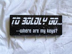 Star Trek inspired key holder To boldly go where by LetterThings Picture Hangers, Star Trek, Keys, Told You So, Inspired, Stars, Words, Inspiration, Gift Ideas