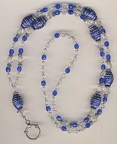 Sparkly Blue & Crystal Beaded Lanyard Badge ID Holder w/optional earrings