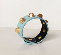 Blue Cuff with Gold Spikes Two Snaps Leather Accessory by MaxiJoy, $12.00