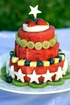 Watermelon 4th july cake