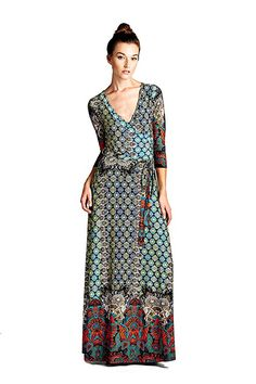 On Trend Women's Paris Bohemian V-Neck Printed Sleeve Faux Wrap Long Maxi Resort Dress at Women's Clothing store: Harley Davidson, Paris Dresses, Resort Dresses, Travel Dress, Maxi Wrap Dress, Dress Long, Wedding Dress Trends, Lovely Dresses, Casual Dresses For Women
