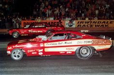 """The legendary """"Chi-Town Hustler"""" Charger taking on the """"Pisano Bros."""" in a funny car duel at Irwindale Raceway...1970."""