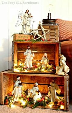 Such A Pretty Way To Display A Nativity. Or then again A Christmas Village Wood Crates. I Like The Idea Of Stacking These To Make A Pseudo Bookshelf For A Rustic Christmas Display, And I Love The Lights Inside, Everything Looks Better Lit Up Noel Christmas, Merry Little Christmas, Country Christmas, Christmas Projects, All Things Christmas, Xmas, Christmas Nativity Scene, Christmas Vacation, Outdoor Christmas